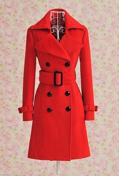 Red wool overcoat. Elegant. High Quality. Fantastic red coat can be a gift to your wife or girlfriend o to yourself. Stunning to match with high heeled boots with red newsboys hat or red beanie.  This