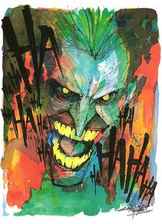 """Watercolor Laughing Mad""  by ~KidNotorious -  Fan Art / Cartoons & Comics / Traditional / Miscellaneous (batman, the joker)"
