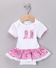 Loving this Kiddie Korral Pink Bandanna Skirted Bodysuit - Infant on #zulily! #zulilyfinds