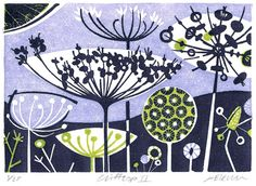 Angie Lewin is a lino print artist, wood engraver, screen printer and painter depicting the UK's natural flora in linocut and other limited edition prints. Illustrations, Illustration Art, Angie Lewin, Coq, Wood Engraving, Limited Edition Prints, Screen Printing, Print Patterns, Art Prints