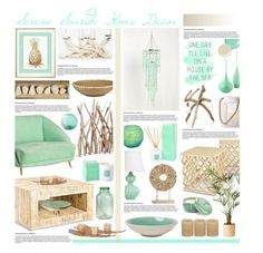 """Serene Seaside Home Decor"" by hmb213 ❤ liked on Polyvore featuring interior, interiors, interior design, home, home decor, interior decorating, Ethan Allen, Lenox, Kismet and Dot & Bo"