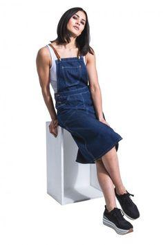 8b63305beb51 USKEES Midi Denim Dungaree Dress - fastens with leather braces. Bib-skirt. #