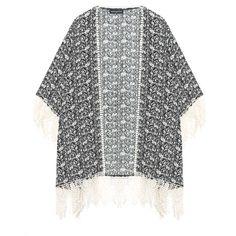 Manon Baptiste Black / Ivory-White Plus Size Fringed printed kimono... ($185) ❤ liked on Polyvore featuring outerwear, jackets, black, plus size, plus size lace jacket, lace kimono, white jacket, straight jacket and plus size fringe jacket