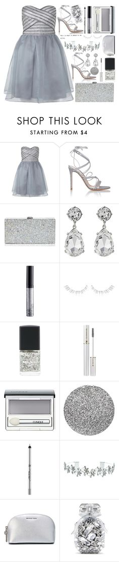 """""""Silver Linings"""" by anonymous1612 ❤ liked on Polyvore featuring Lipsy, Gianvito Rossi, Milly, Kenneth Jay Lane, NYX, shu uemura, SHADE Collection, Lancôme, Clinique and Crabtree & Evelyn"""