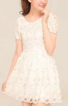 Sweet White Short Sleeves O-neck Lace Dress