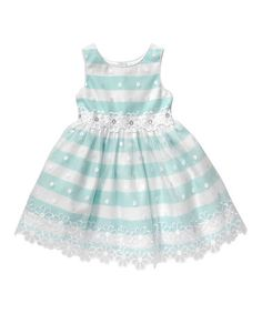 Turquoise & White Stripe Floral-Accent A-Line Dress - Infant #zulily #zulilyfinds
