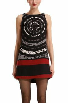 Desigual women's Delirium dress from the Desigual by L range. A short, fitted pinafore dress which is perfect for those nights when all you want to leave at home are your worries.