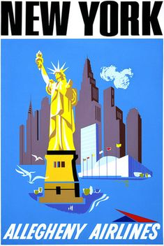 New York by Air. Allegheny Airlines. Vintage New York travel poster showing the Statue of Liberty and the New York City skyline with the Empire State Building and Chrysler Building. Circa 1950s.