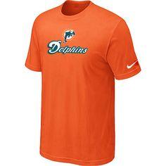 Mens Nike Miami Dolphins Authentic Logo TShirt Orange 7bd361a50