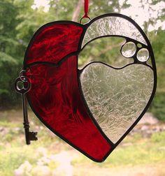 Key to my heart stained glass suncatcher panel wedding anniversary love romance. $31.00, via Etsy.