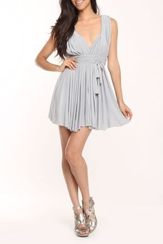 Gray Pleated Dress-could be a tad longer....