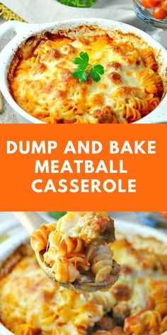 You dont even have to boil the pasta for this easy Dump and Bake Meatball Casserole! With only 5 simple ingredients family-friendly weeknight dinners dont get much better than this! Meatball Casserole, Meatball Bake, Meatball Recipes, Pasta Casserole, Recipes With Meatballs, Easy Casserole Dishes, Dump Meals, Easy Meals, Easy Dinners For Kids