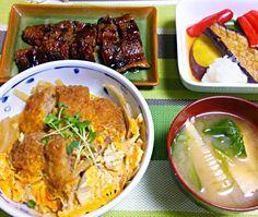 シフォンケーキの練習で 卵黄が余ったので…(*^.^*) - 31件のもぐもぐ - 穴子蒲焼き  野菜揚げ浸し  カツ丼  筍のお味噌汁 by YokoIshikawa