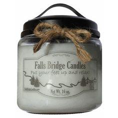 "FallsBridgeCandles Key Lime Pie Jar Candle Size: 5.25"" H x 4"" W x 4"" D"