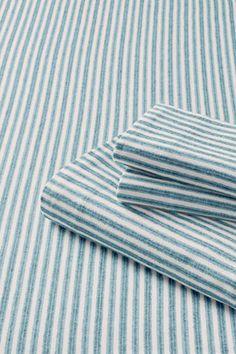 5oz flannel yarn dye striped sheet set in true teal stripe - Striped Sheets