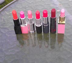 My favourite lipsticks in red, orange and pink.  Mac Morange, Miners Grapefruit, Illamasqua, No: 17 Hot Chili, Duwop Private Red, Yves Saint Laurent Rouge Pur Shine and Bourjois Docteur Glamour