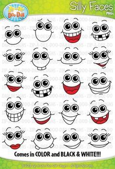 Silly Faces Clipart Zip-A-Dee-Doo-Dah Designs tutorial reference faces painting tutorials paintings tips faces reference reference Cartoon Faces Expressions, Funny Cartoon Faces, Cartoon Eyes, Silly Faces, Funny Face Drawings, Cartoon Drawings, Easy Drawings, Drawing Faces, Face Template
