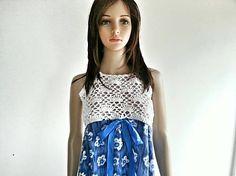 beate1 / Šaty kombinované č.2-modro biele
