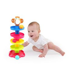 Popular Baby Toys Tower Puzzle Rolling Ball Bell Stackers Kids Toys Developmental Educational Toy Rolling Ball for Children