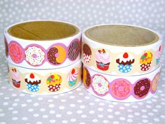 Sweets Sticker Tape with cute cupcake and donut print. #donuts #cupcakes #stickers #washi #washitape #prettyparty #partysupplies #partysupply