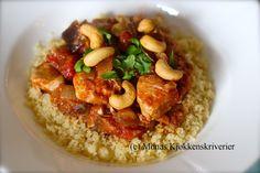 Krydret kylling- og aubergingryte med couscous