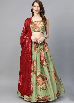 #green #floral #digital #printed #organza #lehenga #choli #designs # traditional #indian #outfits #gorgeous #wedding #look #ootd #new #arrival #womenswear #online #shopping Green Colors, Red Color, Choli Designs, Lehenga Choli, Floral Prints, Women Wear, Sequins, Indian Outfits, Digital