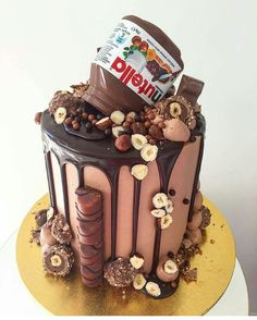 Elegant Photo of Nutella Birthday Cake . Nutella Birthday Cake Pin Paris On Sweets And Treats In Crazy Cakes, Fancy Cakes, Cute Cakes, Sweet 16 Cakes, Pretty Cakes, Food Cakes, Cupcake Cakes, Ferrero Torte, Beautiful Cakes