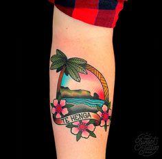 TomTom traditional Tropical Te Henga Sunset Tattoo, best auckland tattoos, New Zealand tattoo studio. #sunsettattoo