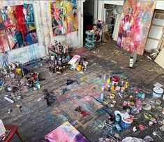 Art Studio Design, Art Studio At Home, Artist Loft, Artist At Work, Painters Studio, Art Watercolor, Exhibition, Hippie Art, Contemporary Artwork