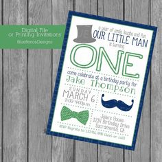 boy birthday party invitation, first birthday, little gentleman, top hat, bow tie, mustache, gray, navy, green,  little man, template, baby