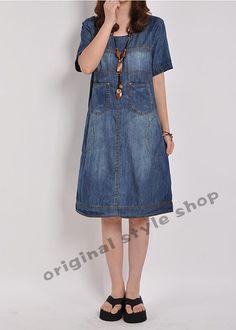 Manches courtes robe grande taille robe Denim Denim chemise d'été en tête Jean robe de coton de robe : Robe par originalstyleshop