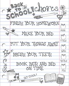 Back to School chore chart for the kids! Easy for them to mark off their simple chores every day.