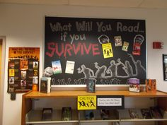 """CAUTION Zombies Reading! We love, love, love the frightening """"What Will You Read ... If You Survive?"""" amazing book display at the Cherry Creek High School Library in Greenwood Village!!  Thanks for sharing Annie (aka Zombie Artist Librarian)!"""