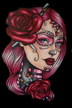 Dead Pin Up Girl Tattoos | Day of the Dead Satin Paper Print 12 by 16 Pin Up girl Tattoo Art ...