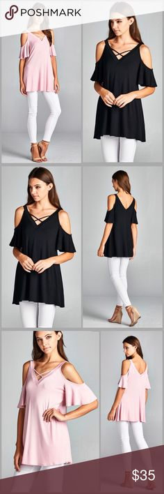 Flutter Sleeves Tunic Top Open shoulder Tunic with flutter sleeves. V Neck line and back line. Made of rayon jersey and spandex. Colors pink or black. Threads & Trends Tops