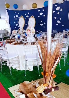 African Traditional blue, cream & gold wedding decor by Shonga Events