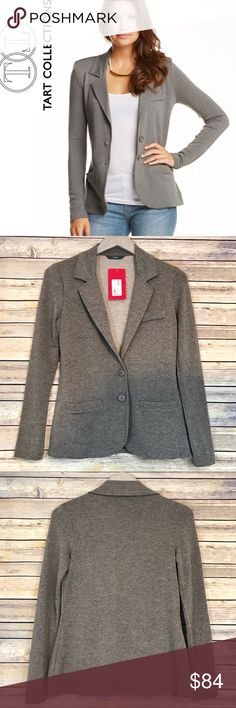 NWT Tart Collections Essential Blazer, Size Small Say hello to a blazer you will actually WANT to wear! Jacket is made of almost sweatshirt like material that LOOKS sharp, but FEELS snuggly! Comfortable enough to keep up with you all day at the office or on the weekend! Looks great worn open or buttoned. Fitted. Size-small. Please see measurements included in photo above. Color- charcoal gray with specks of black and white in the fabric. Included extra button on inside tag. Dry clean only…