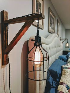 Hanging Wall Sconce Our Wall Sconce is a great way to add some lighting to your bedroom, nursery or any other room that needs a farmhouse touch! *****Each light has a on/off switch on the lamp cord… Rustic Wall Sconces, Rustic Lamps, Rustic Lighting, Living Room Lighting, Bedroom Lighting, Hanging Lamps, Hanging Lights Living Room, Industrial Hanging Lights, Industrial Wall Lights