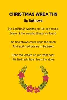 Christmas poems are perfect to share with your family and friends. And to help you out, here are over 20 examples of Christmas poems for kids. Advent For Kids, Advent Calendars For Kids, Christmas Poems, Christmas Wreaths, Fun Projects For Kids, Candy Canes, Red Berries, Red Ribbon, Funny