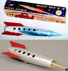 "Space Rockets - ROCKET SHIP X-4 ""VENUS EXPRESS"" - MASUDAYA - JAPAN - ALPHADROME ROBOT AND SPACE TOY DATABASE"