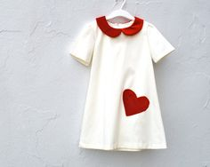 The Sofia Dress  Girls Dress with Red Velvet Heart by SewnNatural, $98.00