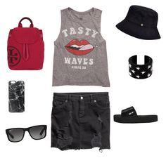 """""""Untitled #43"""" by chernjay on Polyvore featuring H&M, Billabong, RED Valentino, Karen Kane, Tory Burch, Casetify, Ray-Ban, women's clothing, women and female"""