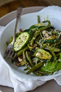 Roasted green beans and squash with hazelnut pesto