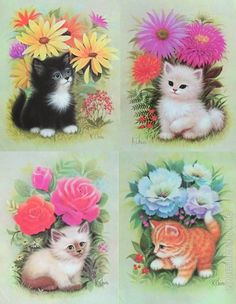 Lithograph prints by K Chin publ. Puppy Pictures, Art Pictures, Cute Cats Photos, Cat Cards, Cat Colors, Space Cat, Vintage Cat, Old Paper, Cat Drawing