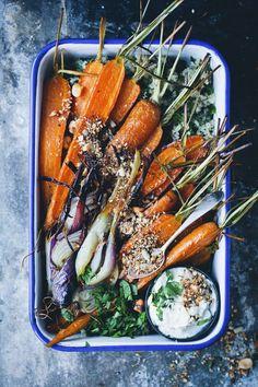 Roasted carrots and feta cream