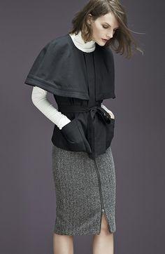 Style inspiration: belted cape jacket layered over turtleneck and knit pencil skirt. (Halogen® Belted Twill Cape (Regular & Petite) | Nordstrom)