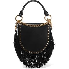 Sacai Horseshoe suede-trimmed studded leather shoulder bag ($1,310) ❤ liked on Polyvore featuring bags, handbags, shoulder bags, black, leather fringe handbags, fold over crossbody purse, leather fringe purse, leather cross body purse and leather handbags