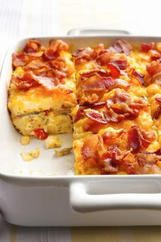 Mix up breakfast favorites of bacon and hash browns in a make-ahead egg bake!
