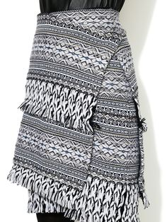 Wool Fringed Wrap Skirt by Pringle of Scotland at Gilt