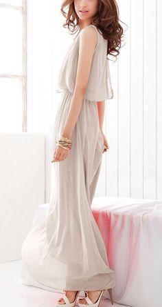 Gorgeous Light Grey Pleated Sleeveless Wrap Bohemian Chiffon Dress #gorgeous #fashion